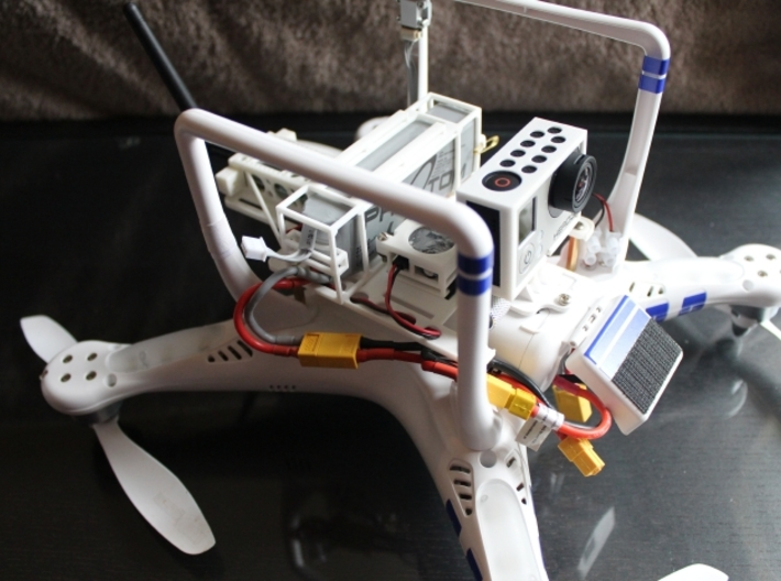 DJI Phantom - 3s Lipo Battery Cage - d3wey 3d printed Battery shown with the full DJI Phantom d3wey rig