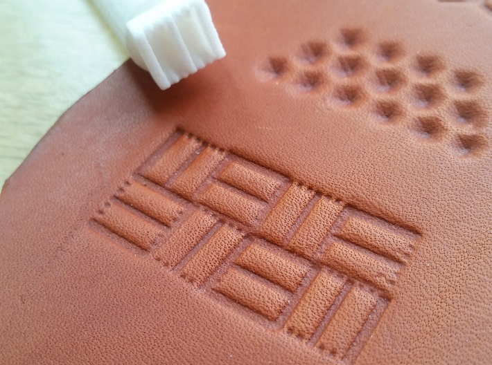 Set of 10 leatherstamps with tool/holder 3d printed Double lines basketweave leather stamp