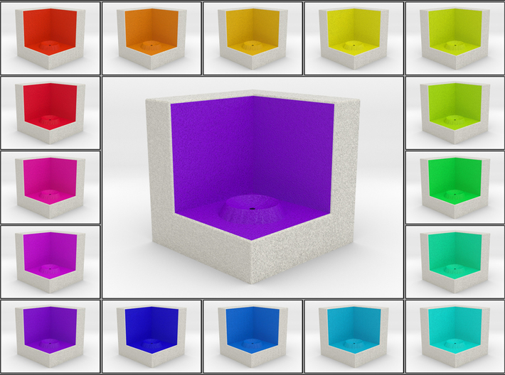 LuminOrb 2.3 - Cube Stand 3d printed Shapeways render of Cube Display Stand for PEACE in Full Color Sandstone
