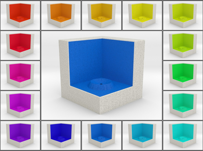 LuminOrb 2.8 - Cube Stand 3d printed Shapeways render of Cube Display Stand for CURIOSITY in Full Color Sandstone