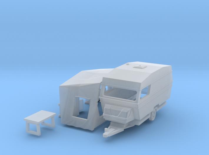 Polar 470 Caravan with tent (British N 1:148) 3d printed