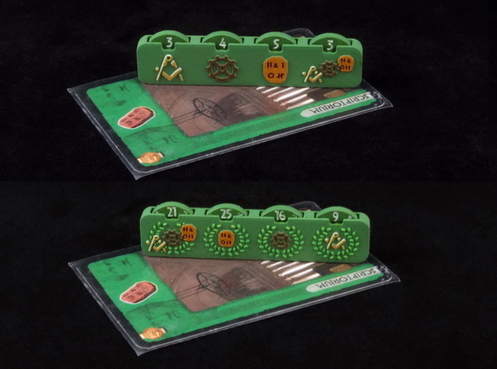 7 Wonders Science Counter 3d printed Hand-painted White Strong Flexible (front & back). Card copyright Repos Production