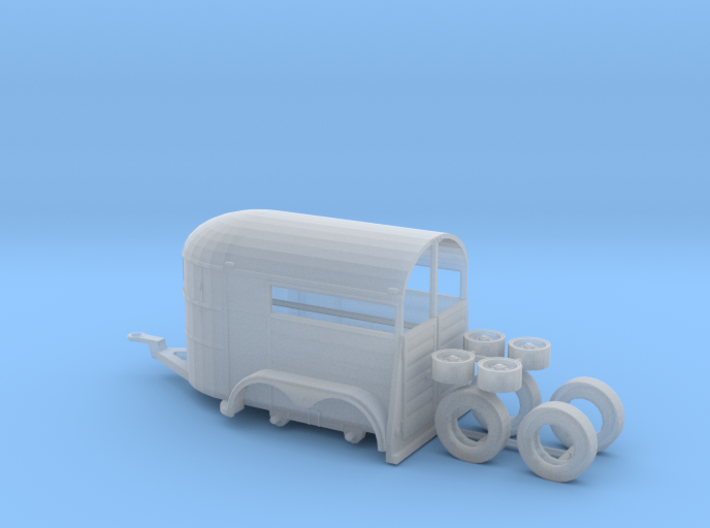 1/87th Tandem axle 13' long horse trailer 3d printed