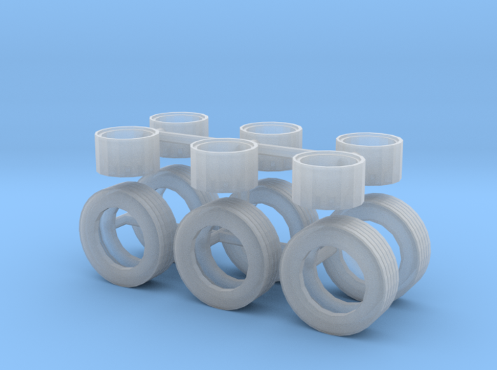 1/64th Horse and other trailers wheels & Tire set 3d printed