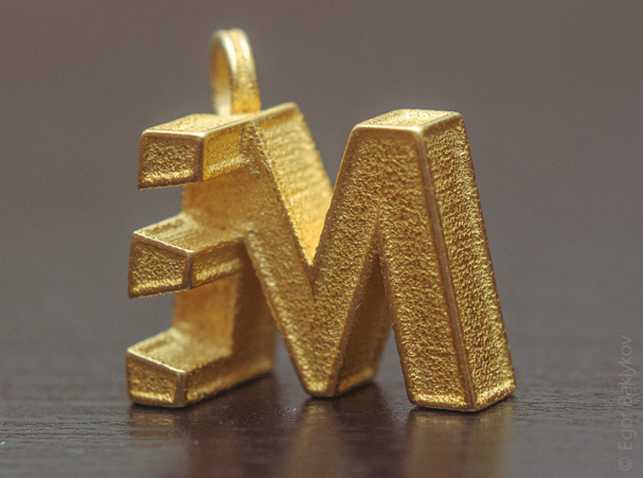 Letters Trinket 3d printed ME Trinket in Gold Plated Glossy