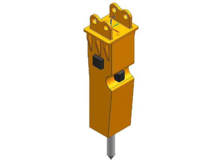 HO 1/87 hydraulic hammer with flange 3d printed