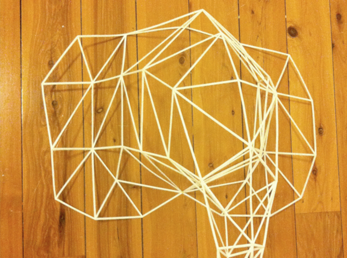 Large Elephant Head Wire For Wall 3d printed Photo of real 3D wireframe model as delivered.