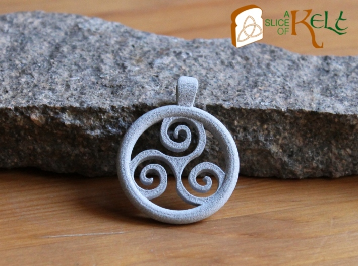 Big Triskell Positve Hole Pendant 3d printed The piece in Polished Alluminide