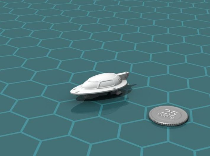 Space Car 1 3d printed Render of the model, with a virtual quarter for scale.