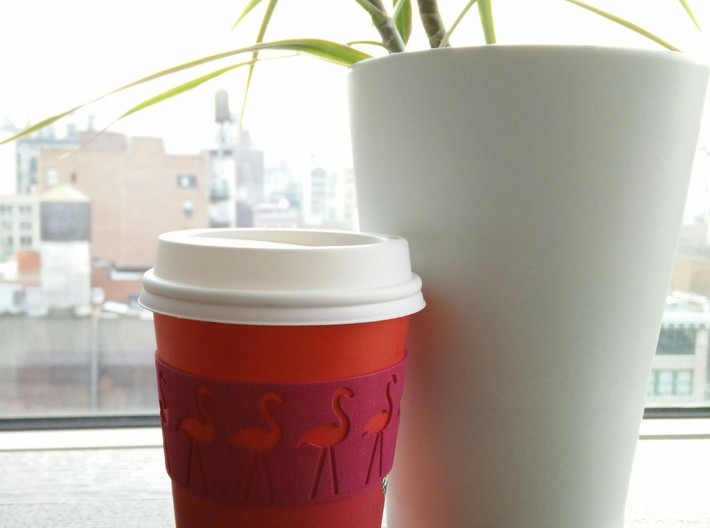 Flashing Flamingo Coffee Cup Sleeve 3d printed