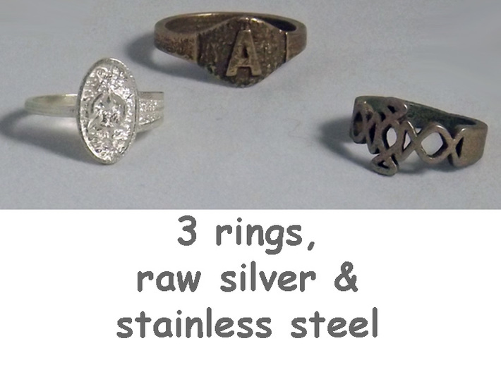 Honor Ethos Asymmetric Oval Ring Sizes 6 to 12 3d printed Group of rings includes Honor Ethos in raw silver.