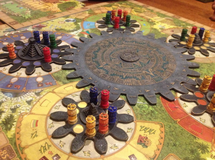 Mayan Worker Tokens (6 pcs) 3d printed White Strong Flexible, hand-painted. Photo courtesy of user Ted11  (on BGG). Game board copyright Czech Games / Iello.