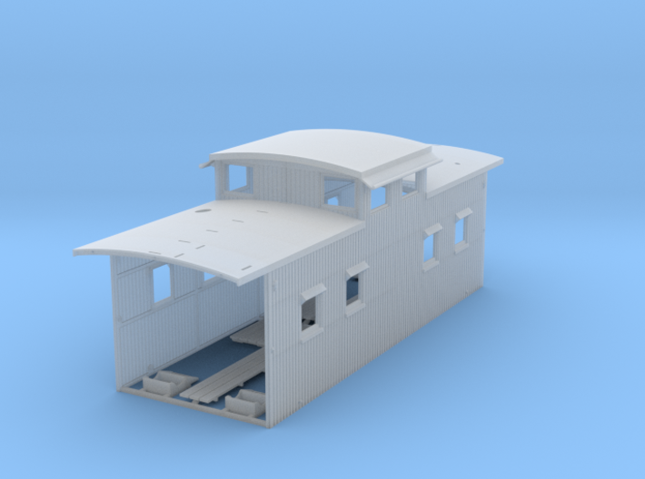 1:87 Clichfield RR Straight Cupola Wood Caboose 3d printed