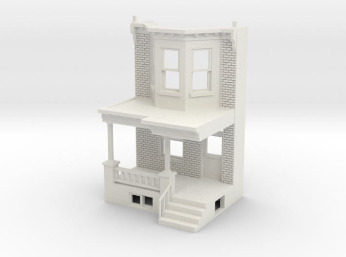 O scale WEST PHILLY ROW HOME FRONT 3d printed