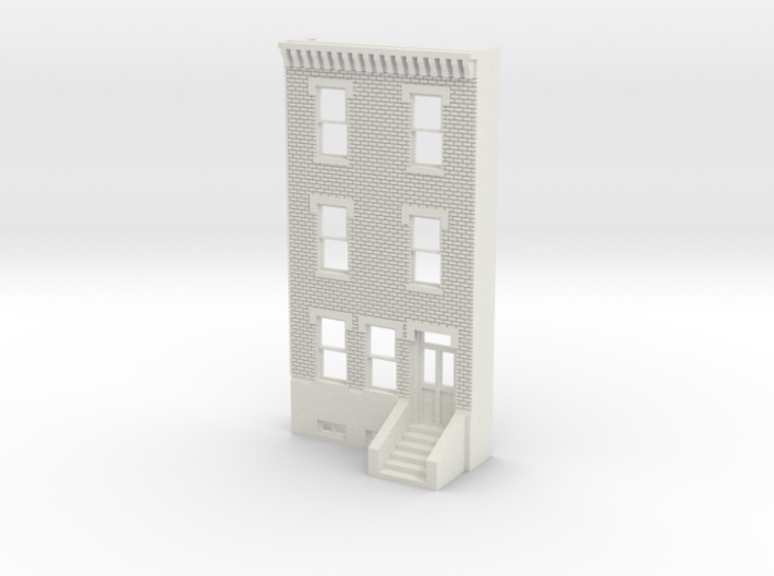 O SCALE ROW HOUSE FRONT BRICK 3S REV 3d printed