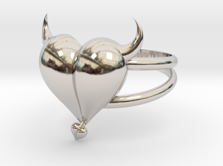 Size 10 Evil Heart Ring 3d printed