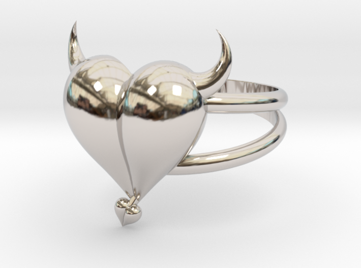Size 7 Evil Heart Ring 3d printed