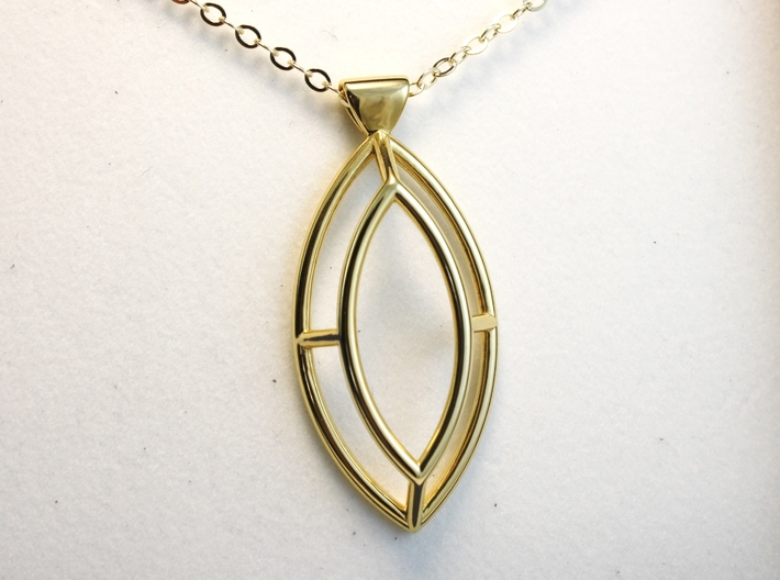 Marquise Simple Wire Pendant - Large 3d printed