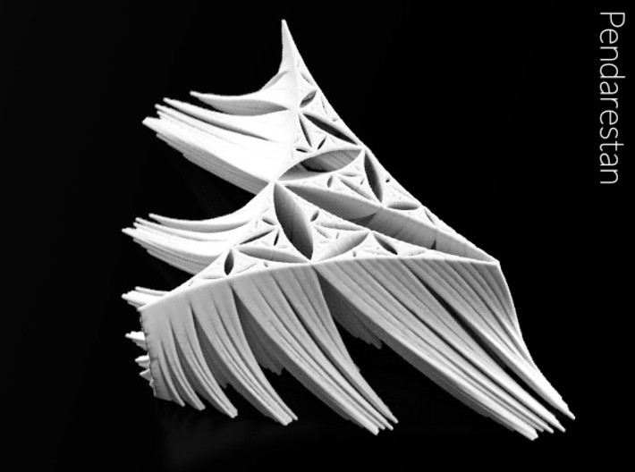 Rhamstack (4 in) 3d printed De Rham curve-based fractal sculpture