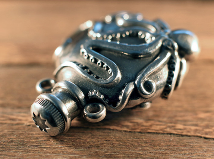 Octopus Vial Pendant 3d printed Oxidized Silver
