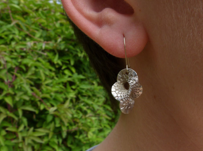 Round Mobius checkerboard earrings 3d printed