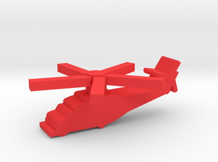 Game Piece, Red Force Hind Helicopter 3d printed