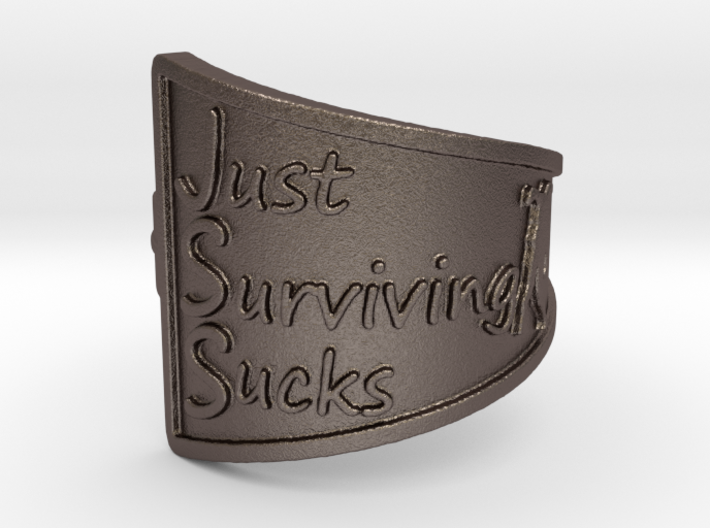 Just Surviving Sucks Satire Ring Size 7 3d printed