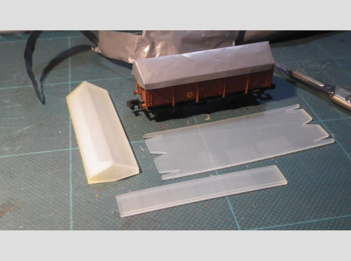 Sheet making tools for Peco KNR-10, N-gauge 15' ta 3d printed The 3 tools in the set (foreground)