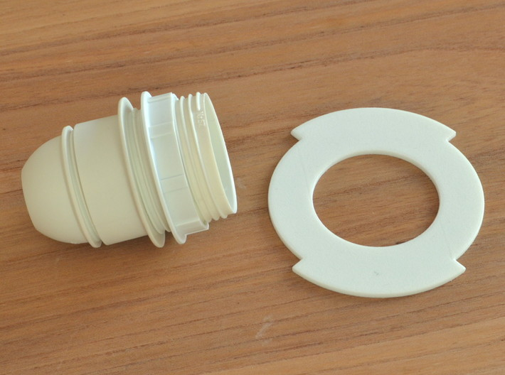 Vorolamp2-shade 3d printed Unscrewed E27 plastic  socket, bayonet inner diameter 40mm