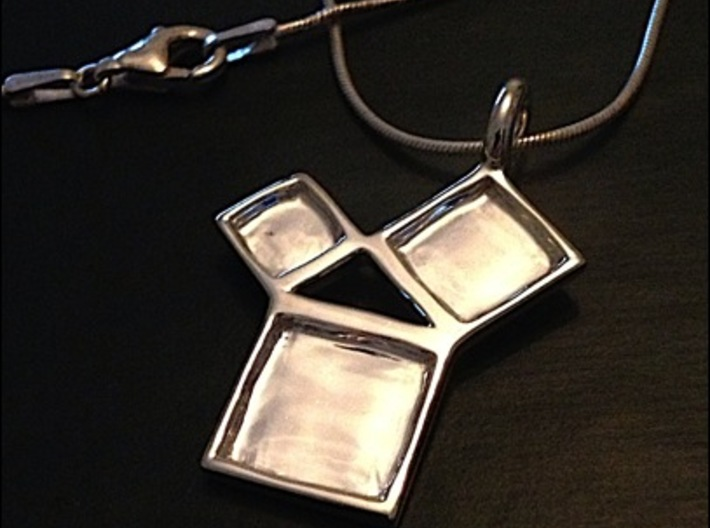 Silver Pythagorean Theorem Pendant 3d printed