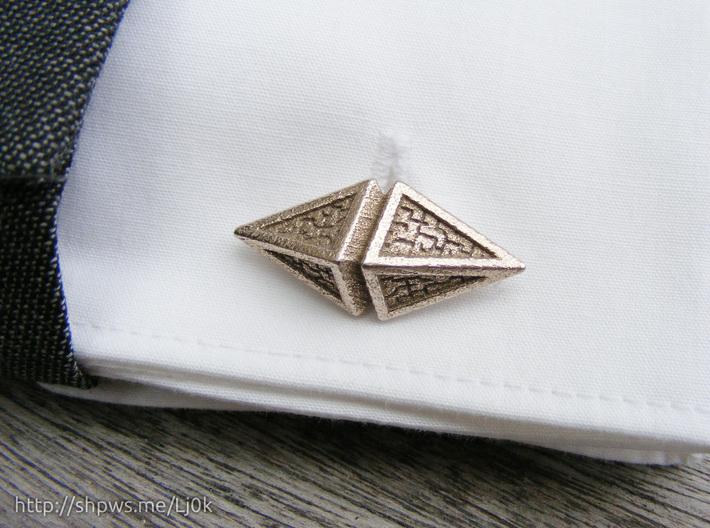 Zendikar Hedron Cufflinks 3d printed Close up of a cufflink on a French cuff.