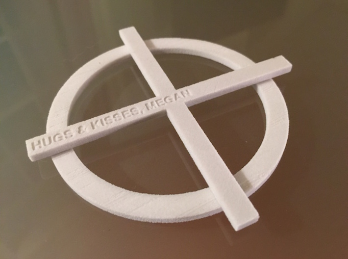 XO Coasters 3d printed Engrave a customizable message on the 'X', the kiss. Feel free to message me with a request.
