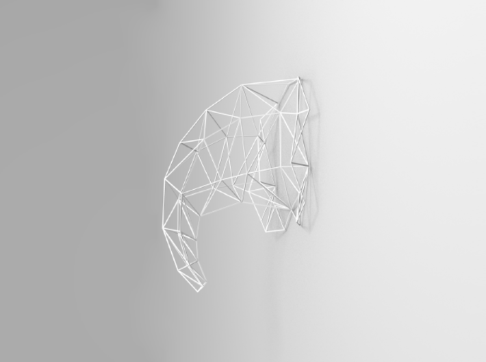 Large Elephant Head Wire For Wall 3d printed 3D rendering side view