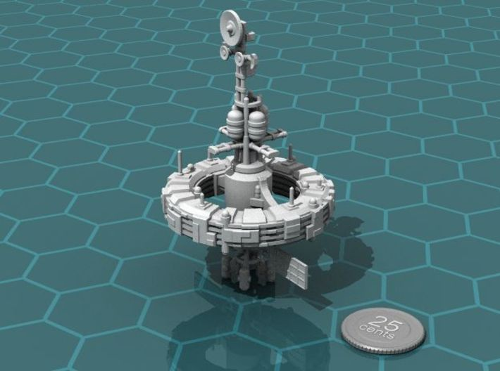 Workshack 3d printed Render of the model, with a virtual quarter for scale.