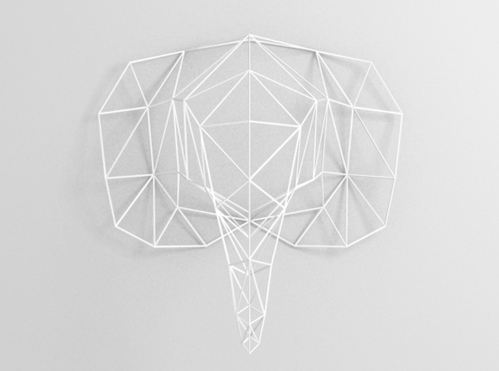 Large Elephant Head Wire For Wall 3d printed 3D rendering front view