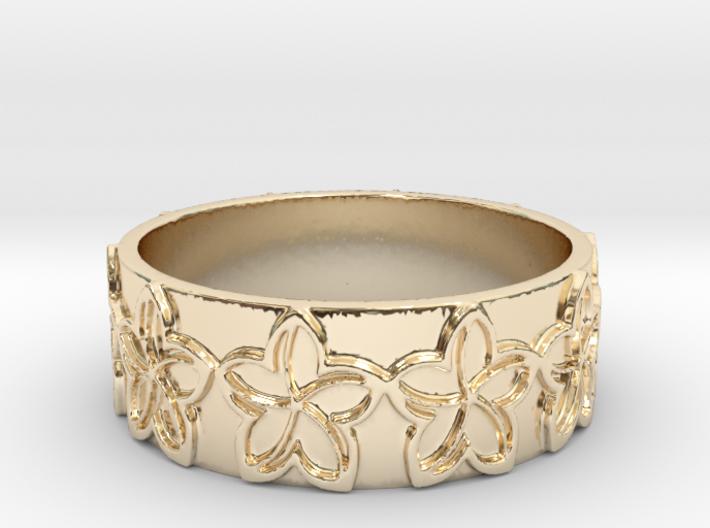 Plumeria Flower Ring Size 11 3d printed