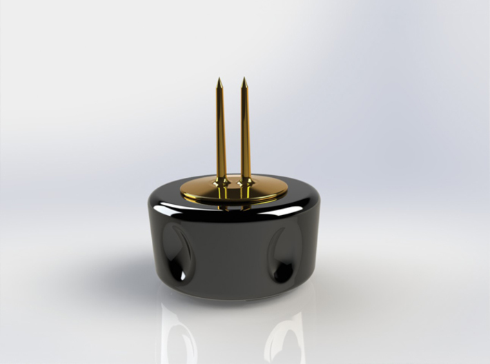 Corn Cob Holder- Tines 3d printed Gloss Black Ceramic Base with Gold Plated Brass tines (render)