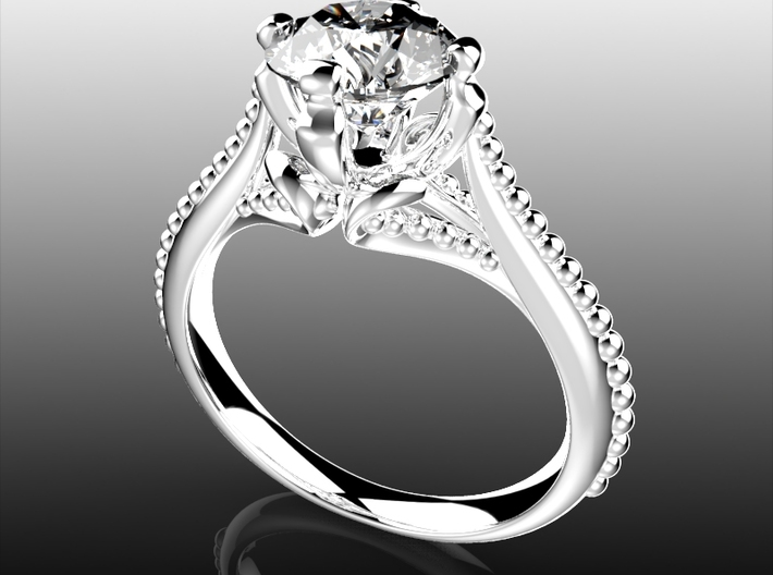 IC7-B - Bead Style Engagement Ring 3D Printed Wax 3d printed