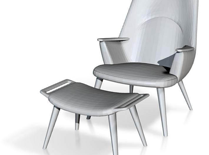 1:48 Wegner Lounge Chair Model AP27 w/ Ottoman 3d printed