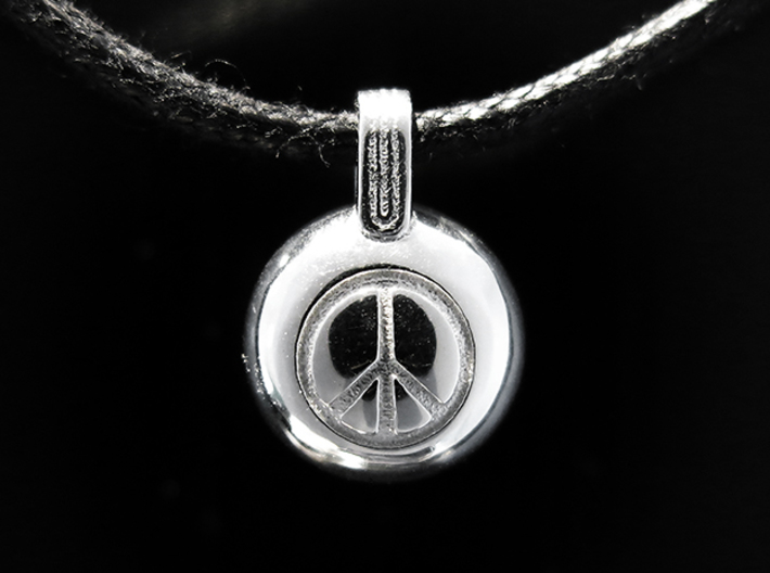 Peace 3d printed Rhodium Plated