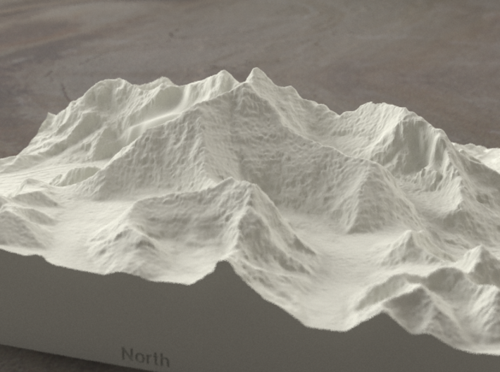 8''/20cm Mt. Everest, China/Tibet, Sandstone 3d printed Radiance rendering of Everest massif model from the North