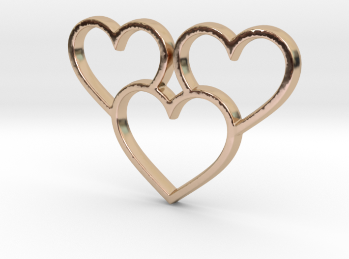 Trio of Hearts Pendant - Amour Collection 3d printed