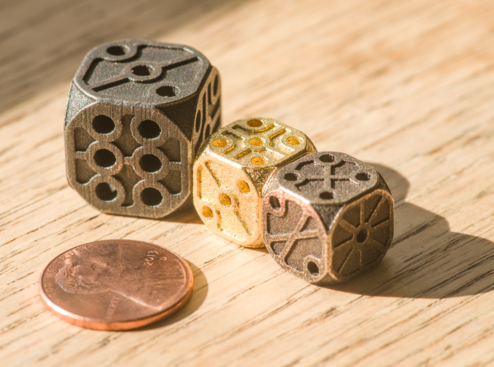 Rustic  Die - Small 3d printed Sizing compared to a standard penny. This item is the SMALLER size pictured.
