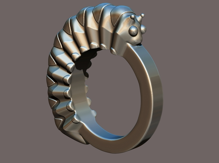 Caterpillar Ring - US Size 9 3d printed Computer render for better view.