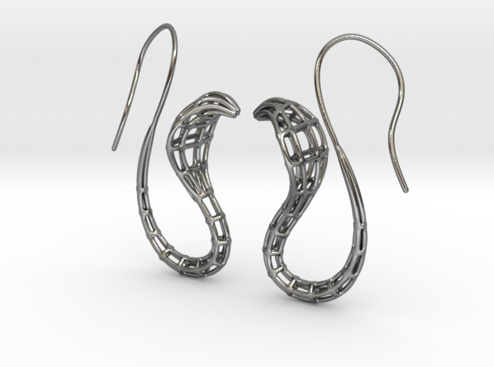 Cobra Earrings Wireframe 3d printed