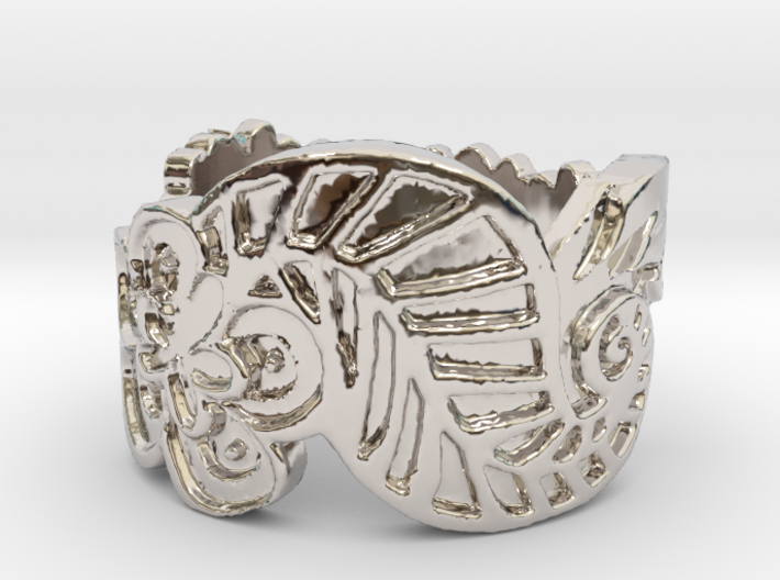 Wavy Flower and Leaf Ring SIZE 6 3d printed