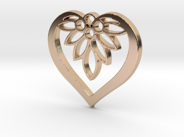 Flower of my Heart Pendant - Amour Collection 3d printed