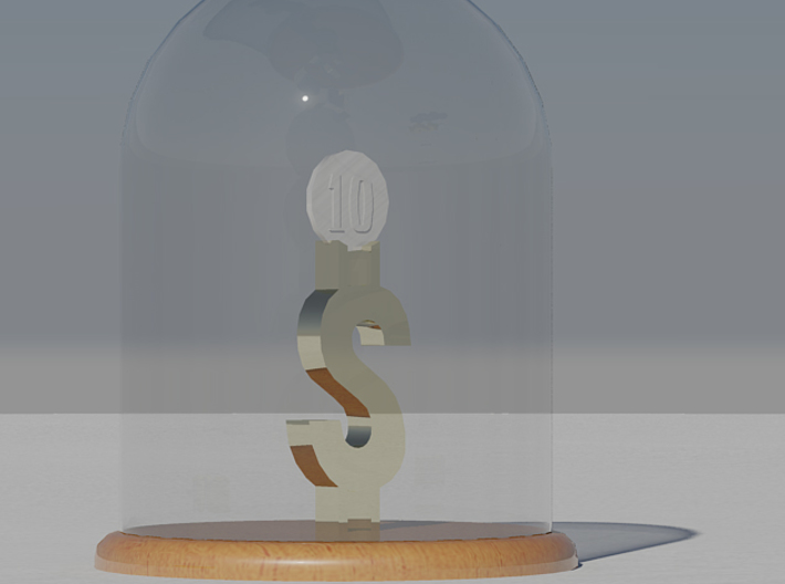 DuckTales Number One Lucky Dime Stand 3d printed Render of Holder under glass dome