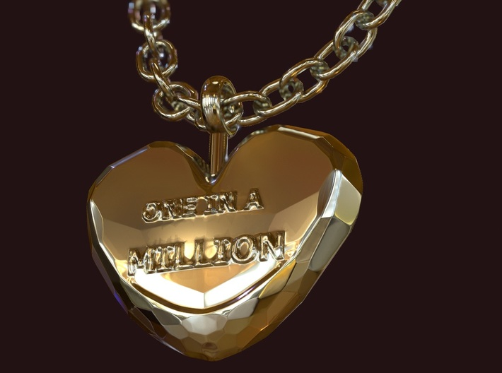 One in a Million Valentine Heart pedant 3d printed