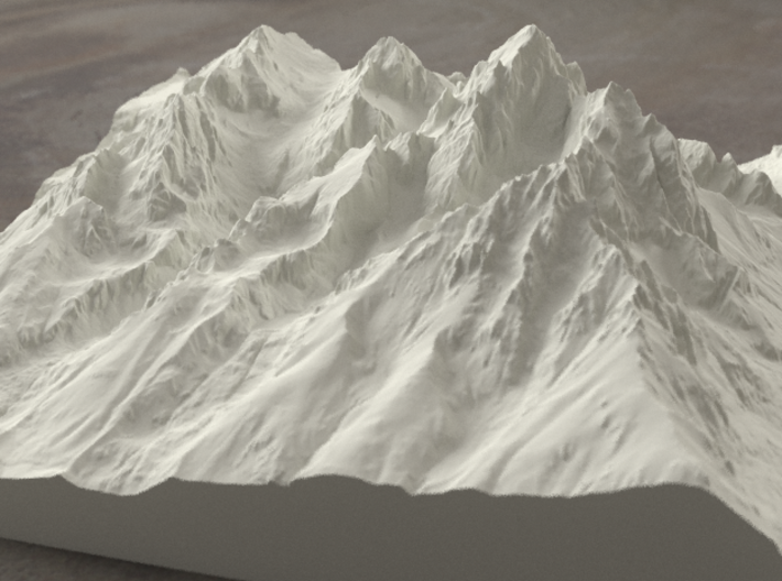 8'' Grand Tetons, Wyoming, USA, Sandstone 3d printed Radiance rendering of model, viewed from the East
